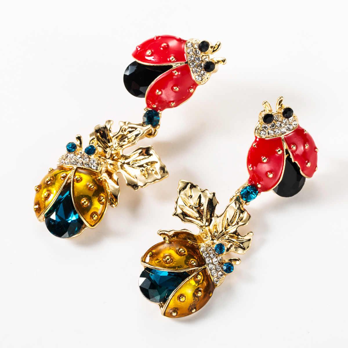 925 Perak Pin Fashion Berlebihan Ladybug Anting-Anting Femme Punk Alloy Crystal Serangga Laporan Panjang Drop Anting-Anting Perhiasan Wanita