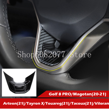 2021 New R Badge Emblem for VW Golf 8 Magotan Arteon Tayron X Tacoua Viloran Car Lower Steering Wheel Logo Carbon Fiber Black