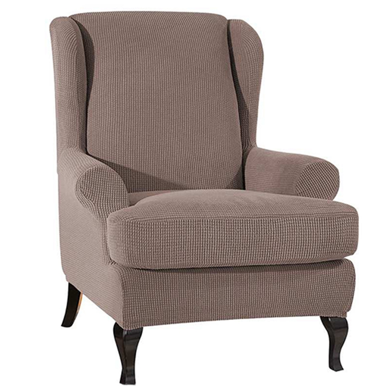 TOP! Wingback Sloping Arm King Back Chair Cover Elastic Armchair Wing Sofa Back Chair Cover Stretch Protector Slip Cover Protect Sofa Cover     - title=