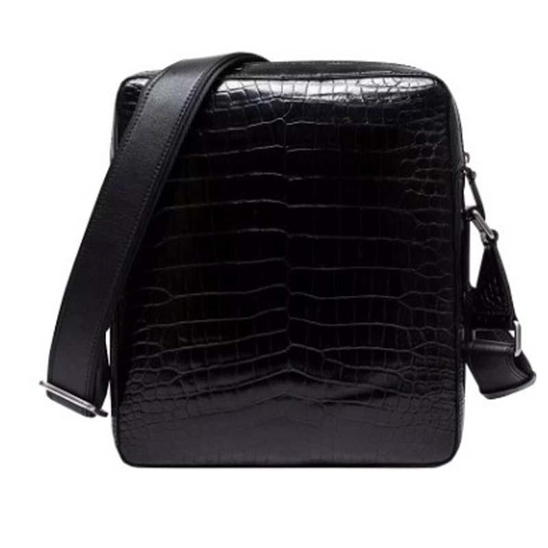 Ourui nuovo vero coccodrillo pacchetto uomini del cuoio Genuino Singolo sacchetto di spalla nero sacchetto Degli Uomini di nuovo arrivo - 4