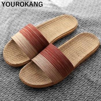 2019 Newest Home Slippers Unisex Couple Shoes Indoor Women Flax Slippers Slides Non-slip Linen Sandals Lightweight Flip Flops цена 2017