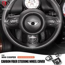 Cubierta de volante de fibra de carbono para Mini Cooper, pegatinas decorativas para interiores, R55, R56, R57, R58, R59, R60, R61, Clubman, Countryman
