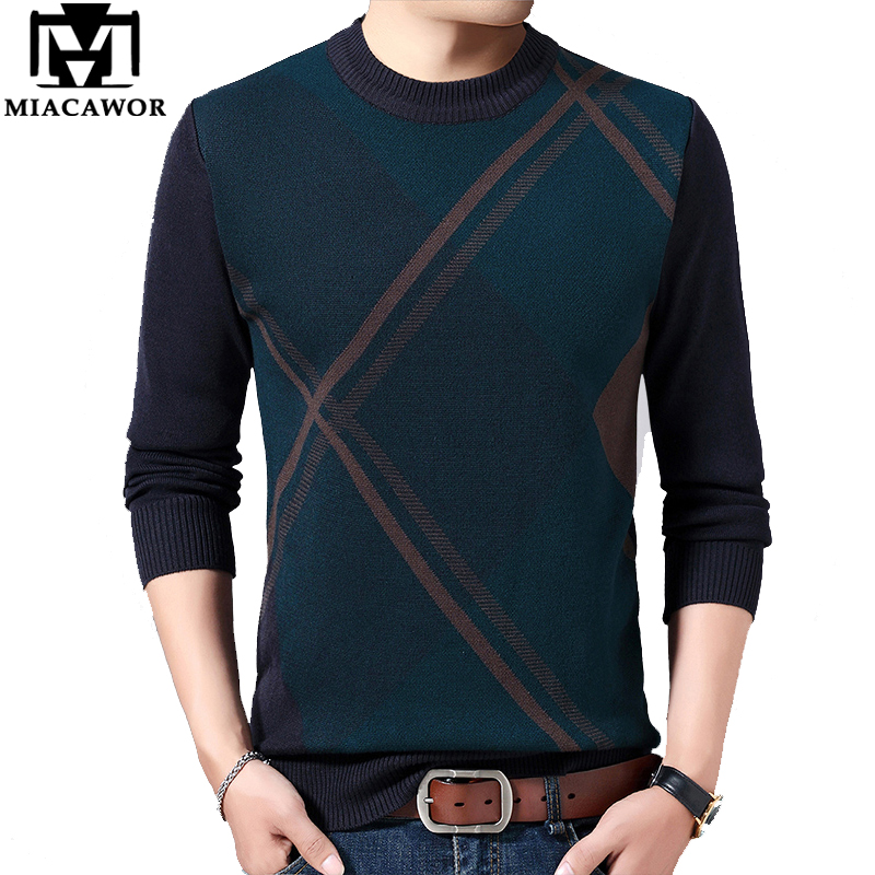 MIACAWOR New Winter Sweater Men Casual Pullover Men O-Neck Thick Warm Wool Sweaters Slim Fit Pull Homme Brand Clothes Y183
