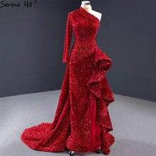 ドバイ高級ワンショルダーレッドイブニングドレス 2020 スパンコールスパークルマーメイドセクシーな fromal ドレス穏やかな丘 HM67056