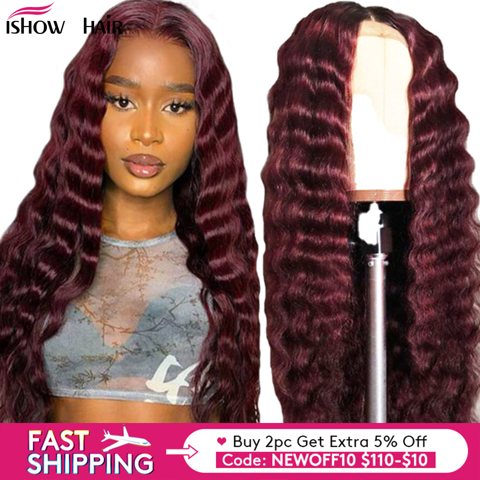 Ishow Brazilian Deep Wave Lace Front Wigs 1B/99J /Orange Ginger Ombre Color 13x4 Lace Remy Human Hair Deep Wave Wigs Pre Plucked
