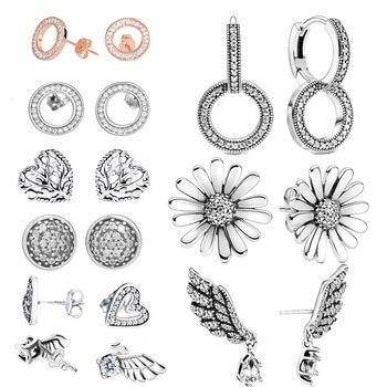 Fashion 925 Sterling Silver Stud Earrings Sparkling Angel Wing Heart earrings for Women Jewelry chic silver heart wing bracelet for women