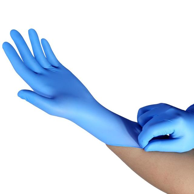 100pcs Disposable Latex Gloves Blue Wear-Resistant Durable Nitrile Rubber Gloves Household Cleaning Experiment Catering Gloves 2