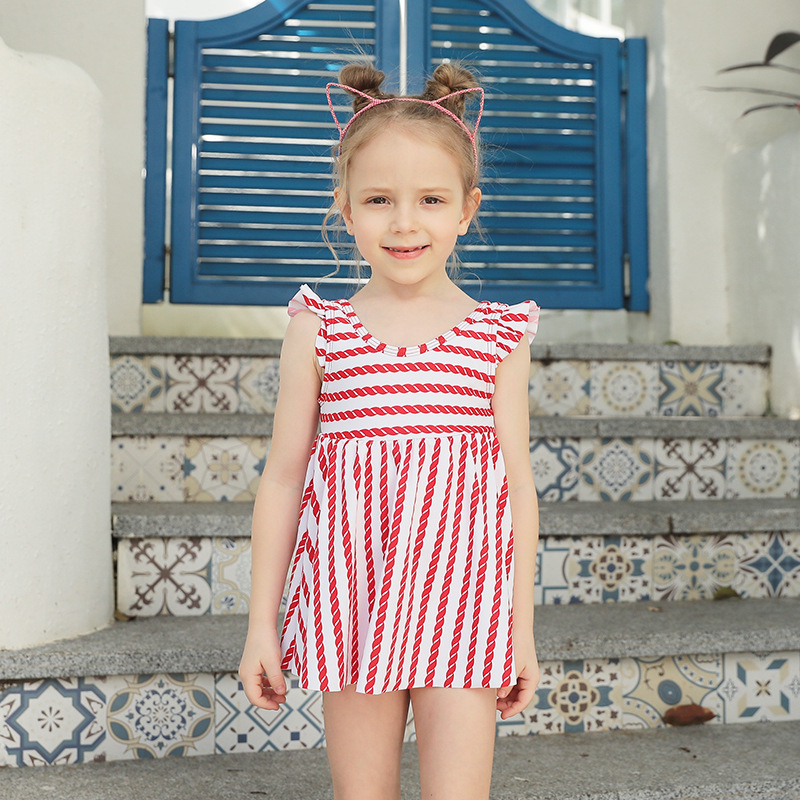 2019 New Style Cute Striped Skirt-KID'S Swimwear Fashion Girls Beach Conservative Boxers Children Swimwear