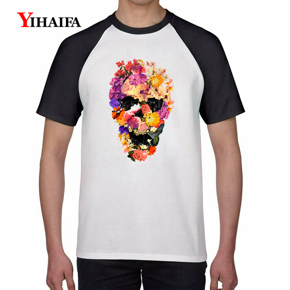 Mens T Shirts 3D Floral Skull Print Hipster Graphic Tees Hip Hop Halloween Tee White Tops Harajuku Casual Unisex T-shirt