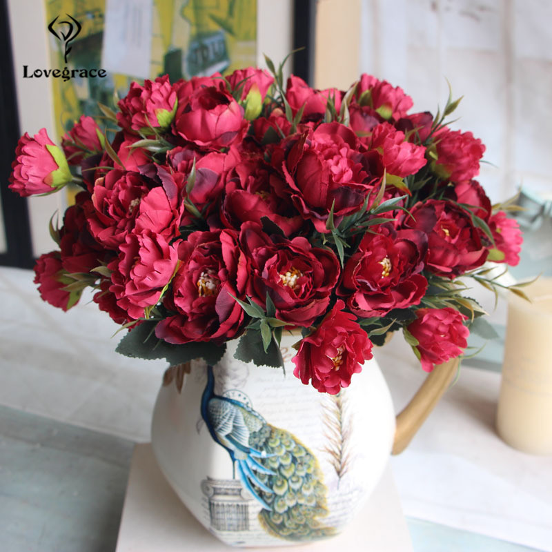 8 Heads Silk Artificial Peonies flowers for Wedding Marriage DIY Decor Small Craft Flower Peony Mini Fake Flowers for Home Decor 4