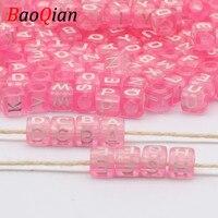 Hohe Qualität Rosa Farbe Gemischt 24 Buchstaben Platz Lose Spacer Perlen Für Schmuck Machen DIY Handgemachte Halskette Armband Zubehör
