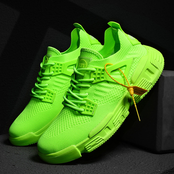 Lightweight Knit Sneakers Men Fashion Casaul Shoes Outdoor Hard-wearing White Breathable 2020 New Trainer