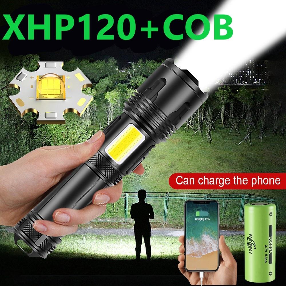 Super XHP120 9-rdzeń potężna latarka Led latarka XHP90 USB akumulator latarka taktyczna 18650 26650 Xhp70 Zoom led latarnia