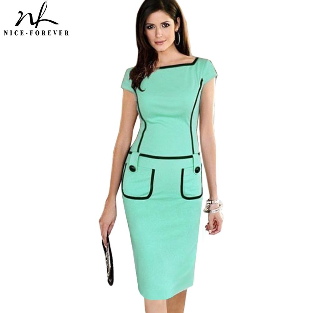 Nice-forever Summer Elegant Pure Color With Button Vintage Bodycon Office Work Bodycon Women Dress Bty789