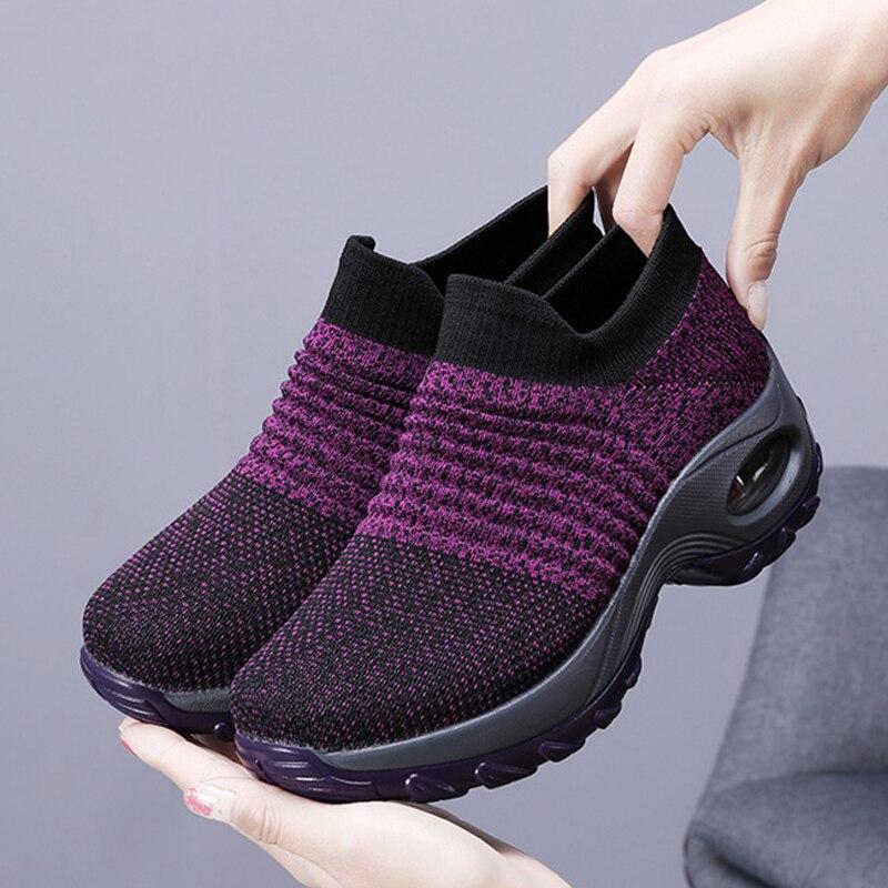 2019  Women Sneakers Fashion Casual Shoes Platform Sneakers For Women Black Breathable Mesh Sock Sneakers Tenis Feminino
