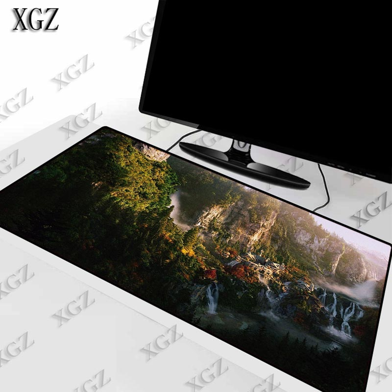 XGZ Lord Of The Rings Fantasy Scenery Large Gaming Mouse Pad Lock Edge  Mat Laptop Computer Keyboard  Desk  For Dota