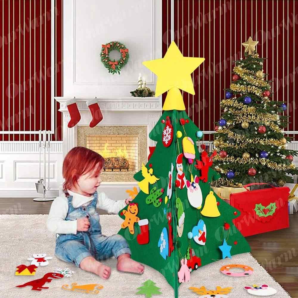 Ourwarm 3d diy criança sentiu árvore de natal com boneco de neve santa cláusula ornamentos crianças presentes brinquedos ano novo natal festa decoração