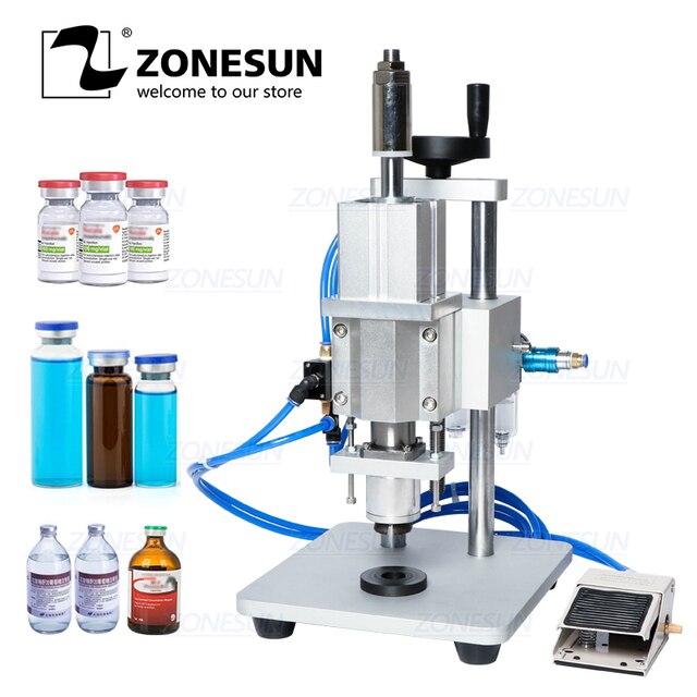 ZONESUN pnömatik kapatma makinesi Oral sıvı penisilin antibiyotik enjekte edilebilir şişe Capper alüminyum plastik cam flakon kıvırıcı