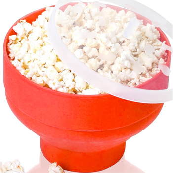 2020 New Popcorn Microwave Silicone Foldable Red High Quality Kitchen Easy Tools DIY Popcorn Bucket Bowl Maker With Lid - Red