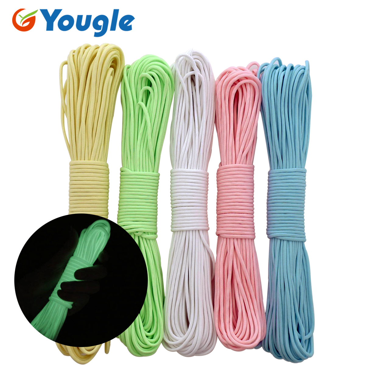 Yougle 9 Strands Cores Luminous Glow In The Dark & Reflective Paracord Parachute Cord Lanyard 25 50 100 Feet