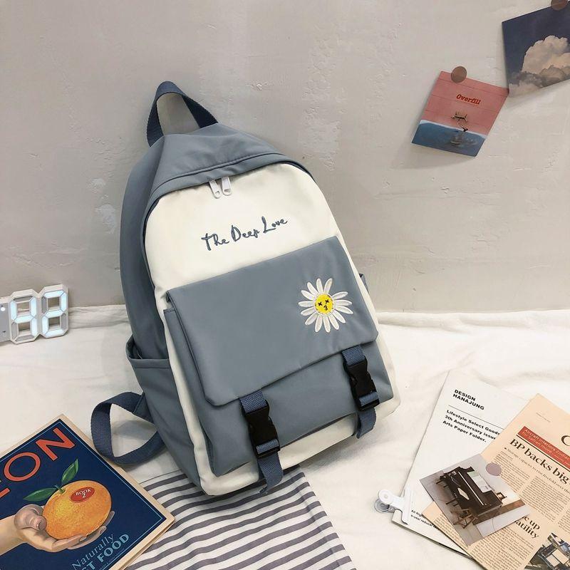 Mochila de nailon para niñas, mochilas escolares, mochila para adolescentes, mochila con diseño de alfabeto y flores con paneles a la moda para mujer, mochila verde fresca, nueva