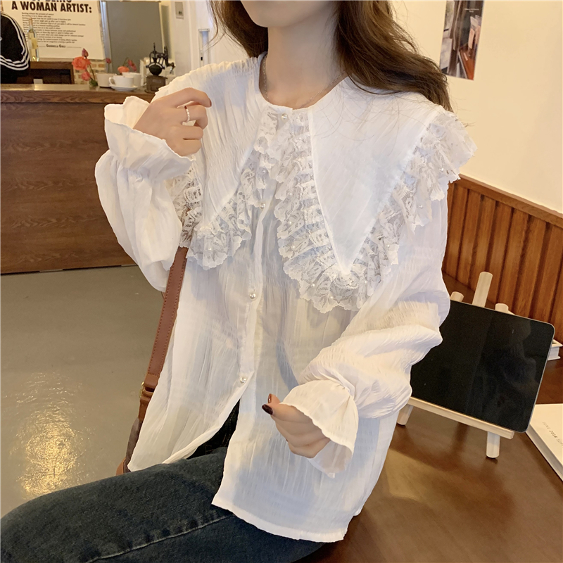 Hdc13ec9c8d62451f83c49ee004fa9a94E - Spring / Autumn Butterfly Lace Collar Long Sleeves Loose Solid Blouse