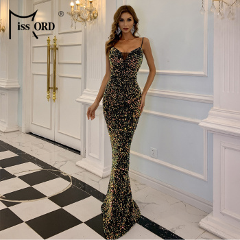 Missord Sexy Deep V Neck Sequins Evening Party Dress Women Spaghetti Strap Bodycon Dress Sleeveless Women Maxi Dress M0623-1 missord 2020 women sexy deep v neck backless sequin dress women sleeveless maxi dress bodycon evening party dress vestido m0449