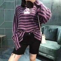 2020 Spring Joint Name Printed Logo Letter Wool Mohair Purple Black Stripe Medium Length Women Men Couple Sweater Knitwear
