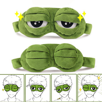 Fashion Kawaii Travel Eye Mask 3D Sad Frog Padded Shade Cover Sleeping Closed/Open Eye Funny Mask Kid Adult Fun Novely Eye Patch
