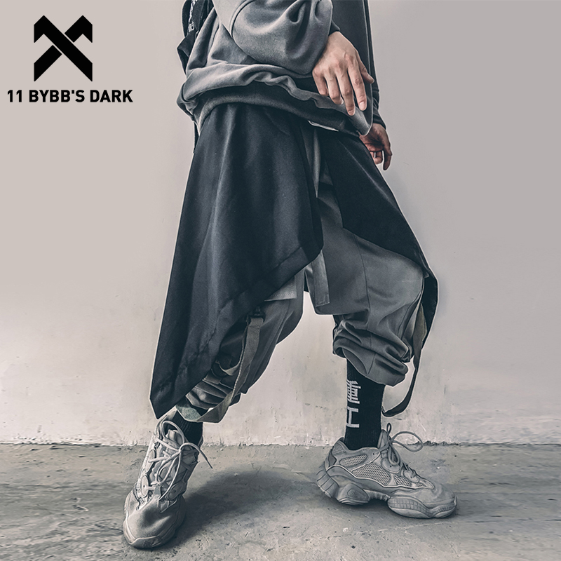 11 BYBB'S DARK Irregular Hip Hop Men Harem Skirt Pants Harajuku Adjustable Streetwear Black Pleated Apron Gothic Jogger Trouser