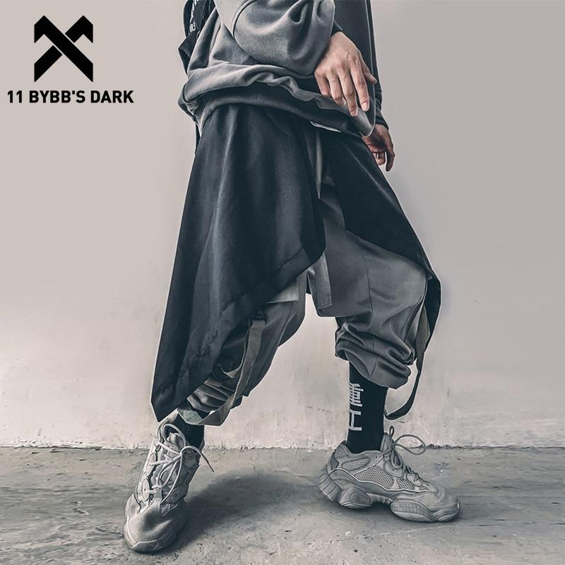 11 BYBB'S DARK Irregular Hip Hop Men Harem Skirt Pants Harajuku Adjustable Streetwear Black Pleated Apron Gothic Jogger Trouser