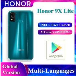 В наличии Huawei Оригинал Honor 9x Lite смартфон глобальная версия Kirin 710 NFC оплата 4 Гб + 128 ГБ 48MP двойная камера мобильный телефон