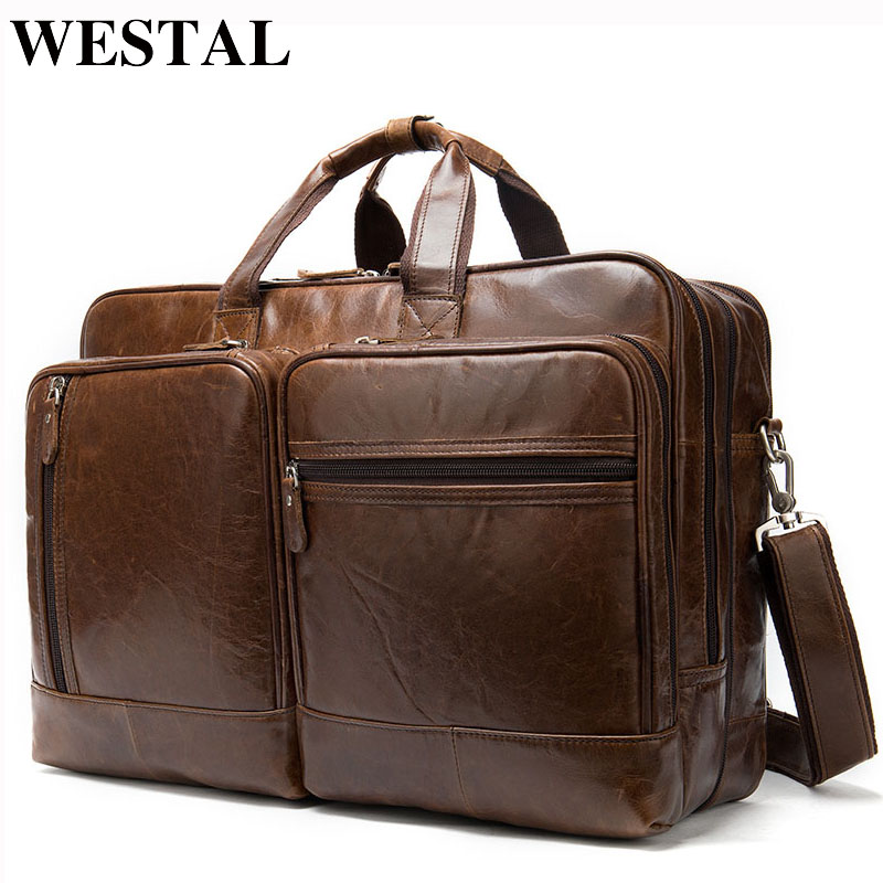WESTAL Business Men Briefcase Men's Genuine Leather Bags Lawyer/Office Bag For Men 15inch Laptop Bag Leather Bags Briefcase Male