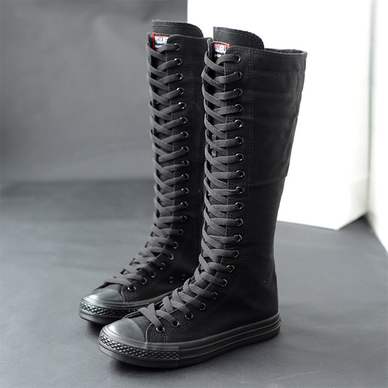 2020 Spring Women Canvas Lace Up Cross Tied Knee High Boots Zip Plus Size Ladies Flat White Black Shoes Female Casual Sneakers