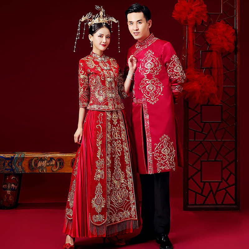Red Chinese Style Wedding Married Dress High Quality Embroid Loading Men And Women Traditional Hanfu Embroidery Ancient Costume