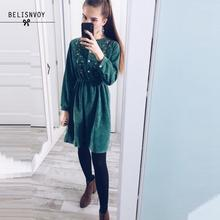 2020 New Autumn Dress Lady Long Sleeve Sweet Retro Fashion Green Floral Embroidery Mujer Vestidos Women Winter Warm Corduroy