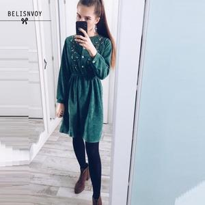 Image 1 - 2020 New Autumn Dress Lady Long Sleeve Sweet Retro Fashion Green Floral Embroidery Mujer Vestidos Women Winter Warm Corduroy