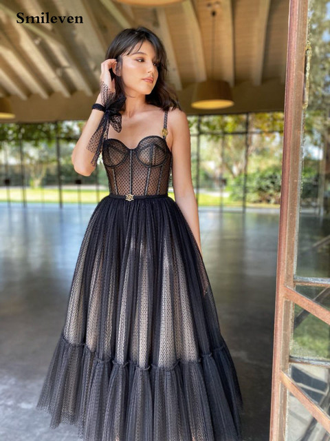 Smileven Modern Black Dotted Tulle Short Prom Dresses Spaghetti Straps Evening Gowns Sweetheart Corset Prom Party Gowns 3