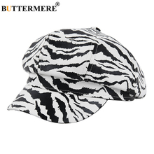 Hats Beret Octagonal-Cap Newsboy-Cap Vintage Winter Women Autumn Stripe Brand BUTTERMERE