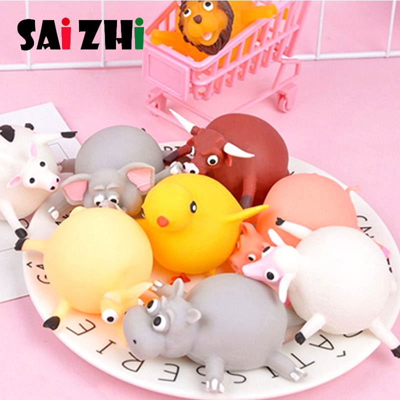 Saizhi Rubber Inflatable Ball Can Blow Animal Toy Squeeze Mochi Rising Antistress Abreact Ball Soft Sticky Cute Funny Gift