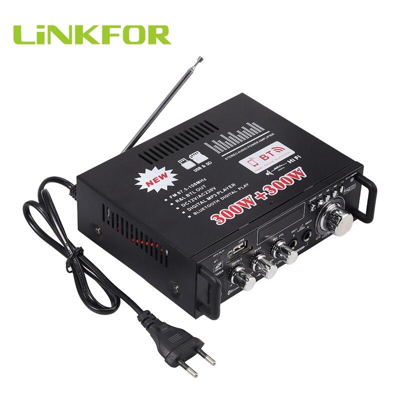 LiNKFOR 600 Вт Bluetooth стерео аудио усилитель HiFi музыка SD USB FM 12 В/220 В цифровой Предварительный усилитель для дома/автомобиля усилитель с пультом дистанционного управления