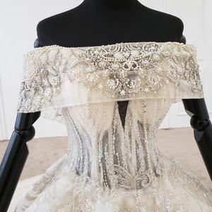 Image 5 - HTL1106 pleat ball gown wedding dress luxury boat neck floor length wedding gown plus size curve shape robe mariage en perle