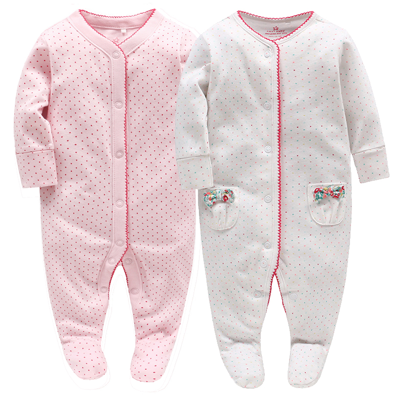 2pcs Picturesque Childhood Newborn Baby Girls Footies Sweet Cute Full Dot Print Clothes Infant Bow Outfit Pajamas Pure Cotton