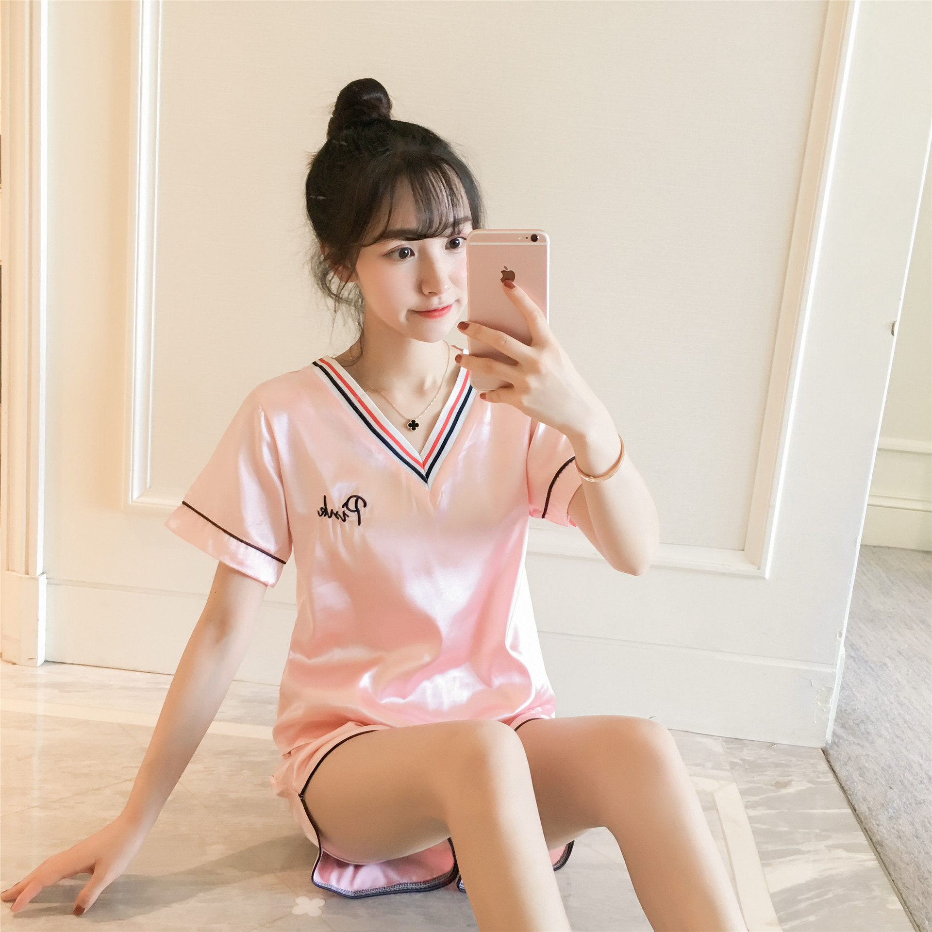 Dream Friends Drawstring Top Pink Pajamas Women's Xia Bing Silk Short Sleeve Korean-style Spring And Autumn Thin Sweet-Outer Wea