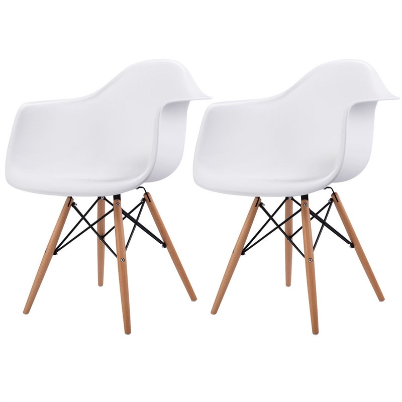 Set Of 2 Mid-Century Dining Arm Chairs With Wood Legs Chairs Dining Room Modern HW58942-2