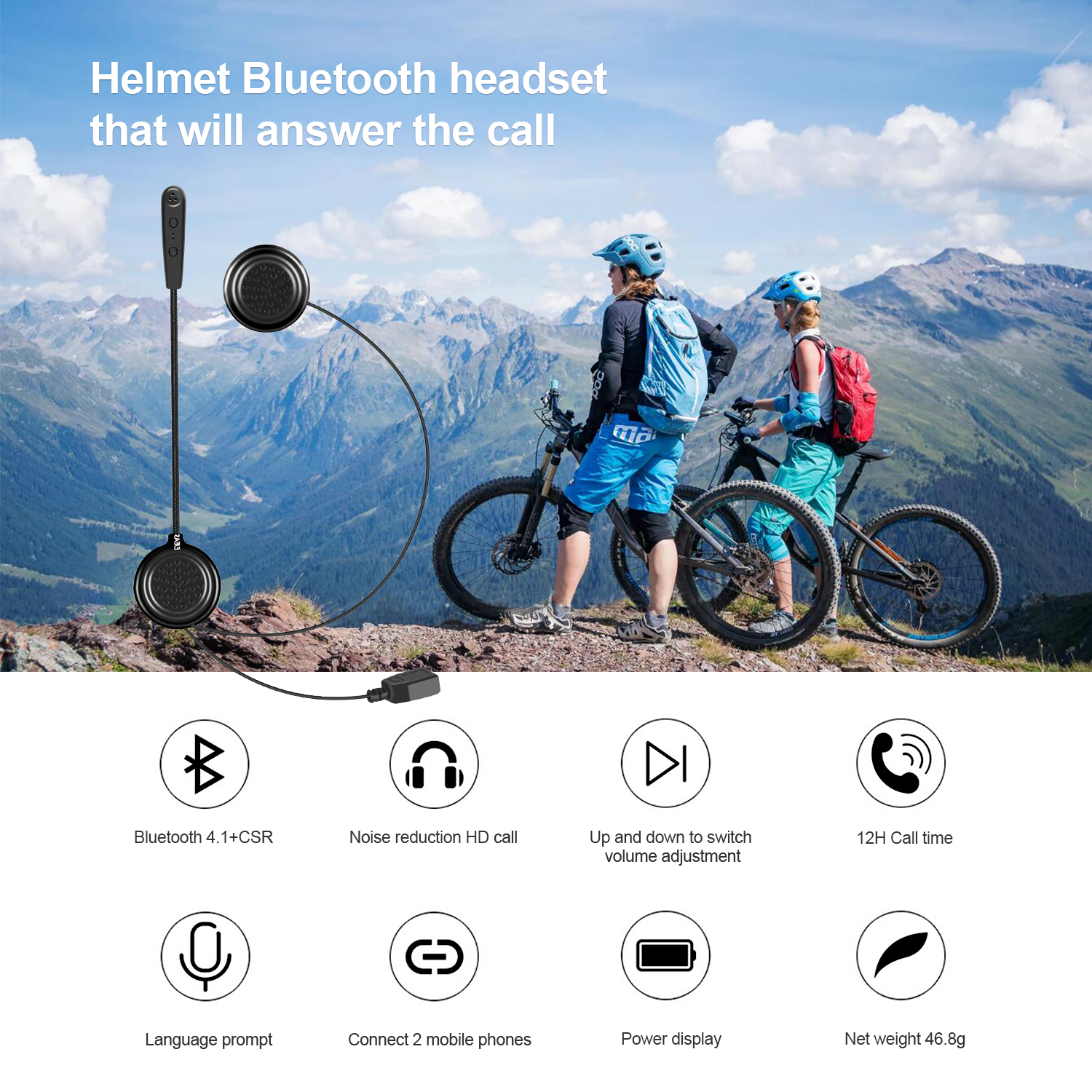 2019 E1 Bluetooth 4.1 HD Stereo Sound Intercom Motorcycle Bluetooth Helmet Headsets Long Stand-by Travel Sports Interphone