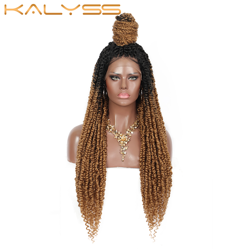 Kalyss 30 Inches Twist 4X4 Swiss Lace Front Synthetic Braided Wigs with Baby Hair for Black Women Curls Ends Ombre Color