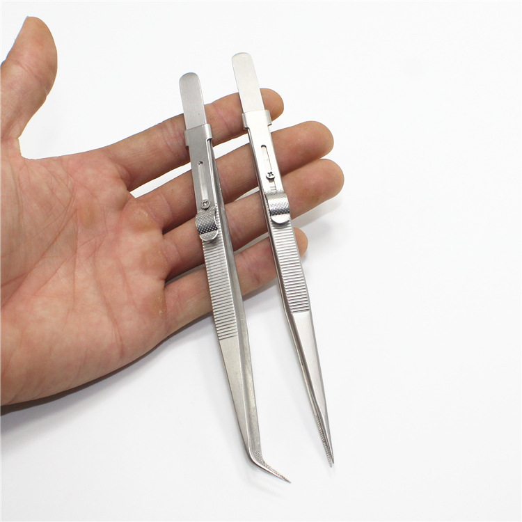 Precision Adjustable Slide Lock Anti Static Tweezers For Jewelry Electronic Component Holding Repair Tools