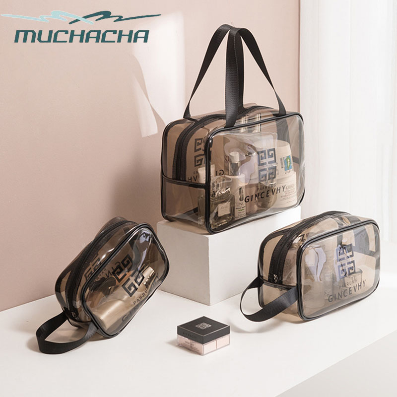 Muchacha Fashion Waterproof 3pcs/<font><b>set</b></font> <font><b>Transparent</b></font> Beauty Kit Wash Zipper Makeup Beach Pouch Clear PVC <font><b>Cosmetic</b></font> <font><b>Bag</b></font> image