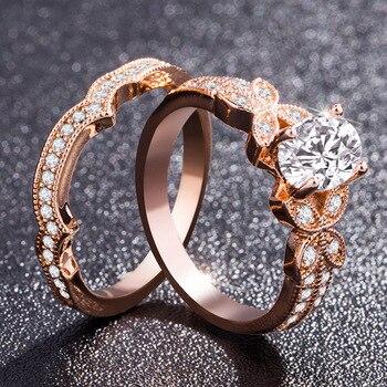 14k Rose Gold Diamond Ring for Women Bague Gift for Mom Wedding Gemstone 14 K Gold and Diamond Engagement Jewelry Ring Bizuteria 4